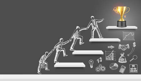 Business people team silhouettes climbing up stairs to trophy cup on the top, vector illustration. Ilustracja