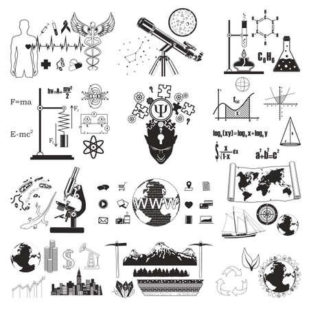Science symbols set, vector illustration. Knowledge, school education.