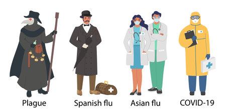 World pandemic doctor cartoon character set, flat vector illustration. Plague, spanish and asian flu, Covid-19 pandemic.