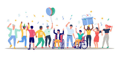 Happy people with disabilities dancing and having fun, flat vector illustration. Disabled people lifestyle.