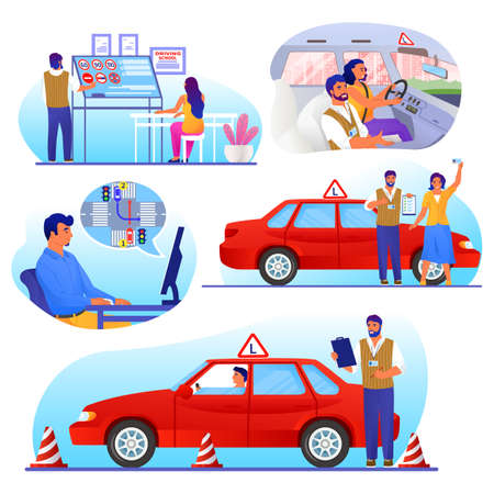 Driving school set, flat vector isolated illustration. Driver education with instructor, online lessons. Stock Illustratie