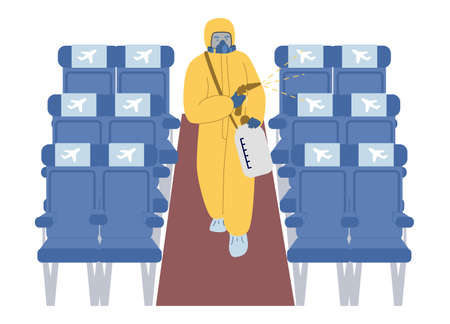 Cleaning and disinfection of aircraft cabin surfaces, flat vector illustration. New normal of air travel, safe flight.