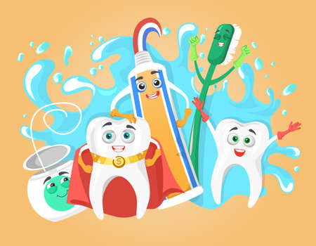 Happy healthy teeth, toothbrush, toothpaste and tooth floss with human faces, flat vector illustration. Best friends.