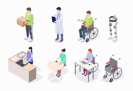 People with disabilities using wheelchair, wearing prosthetic leg, arm, flat vector isometric illustration.