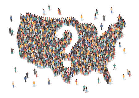 US country is at a crossroads concept vector illustration. USA map made of many people. Map of United States of America with question mark in the center. Group of people stay in formation