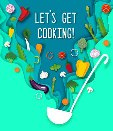 Paper cut craft style soup ladle with fresh vegetables, vector illustration. Cooking poster design template.