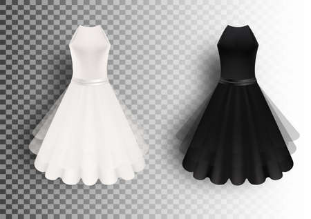 Black and white fluffy dress mockup set, vector isolated illustration. Realistic women little cocktail dresses.