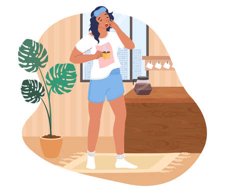 Sleepy woman waking up in the morning, flat vector illustration. Sad girl with cup of coffee. Stock Illustratie
