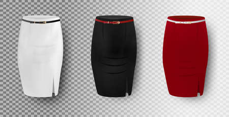Black, white and red skirt mockup set, vector isolated illustration. Realistic women pencil skirts.