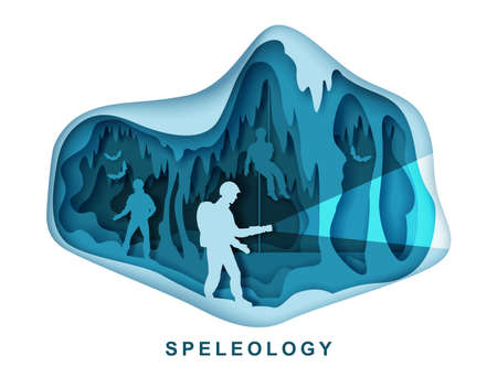 Speleology. Spelunker and bat silhouettes in underground cave, vector paper cut illustration. Science, sport tourism.