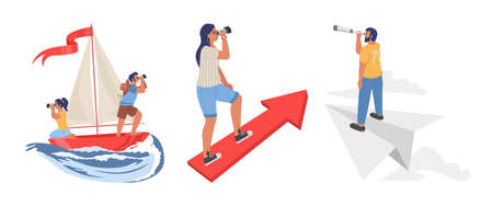 People looking through telescope floating on boat, flying on paper plane, standing on rising arrow, flat vector illustration. To look forward, view to the future, search of new opportunities and ideas