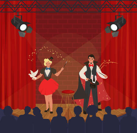 Circus performance. Illusionists and magicians performing tricks with dove, rabbit, flat vector illustration. Magic show