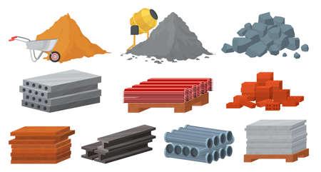 Construction materials set, flat vector illustration. Pile of sand cement stones bricks. Gypsum blocks, metal roof, tile