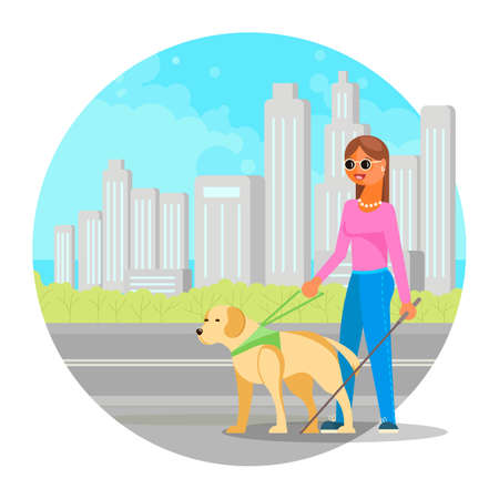 Blind woman walking down the street with cane and guide dog, flat vector illustration. Assistant dog, service animal. Vector Illustratie
