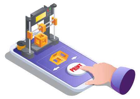 Isometric 3d printer building cube on mobile screen. 3D printing service for on demand manufacturing vector illustration