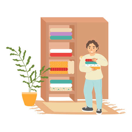 Cute boy putting folded clothes in wardrobe, cleaning house, flat vector illustration. Kids household chores.