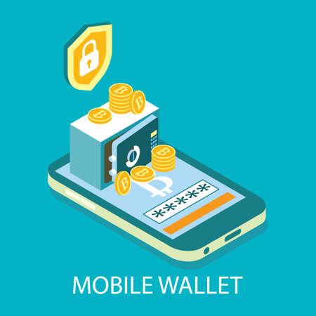 Mobile cryptocurrency wallet, vector isometric illustration. Digital money storage. Online bitcoin crypto coin wallet.