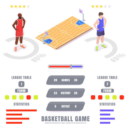 Basketball game statistics, ratings, vector isometric infographic. Basketball league tables and sport match results.