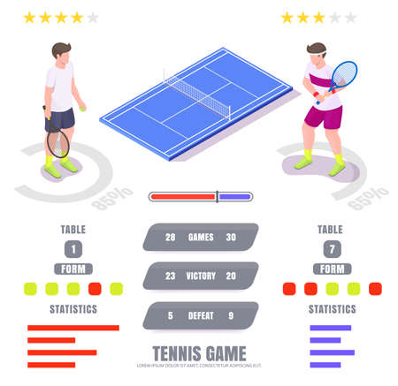 Tennis game statistics, ratings, vector isometric infographic. Tennis tables and sport match results.