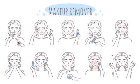 Makeup removal steps, vector illustration. Removing eye, lip, face make up procedure. Facial skin care routine, hygiene. Vecteurs