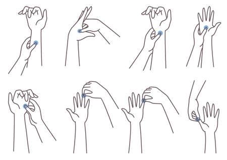 Acupressure hand massage technique. Woman pressing finger, palm, wrist points, vector illustration. Chinese medicine.