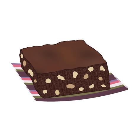 servilleta de papel: Pastel de chocolate brownie con nueces en una servilleta de rayas Vectores