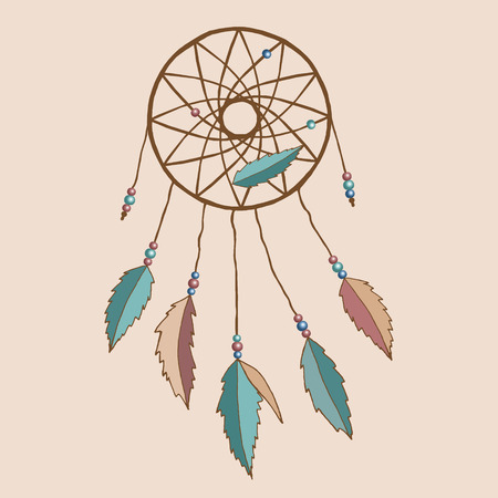dream catcher: Beautiful indian dreamcatcher with feathers and beads.