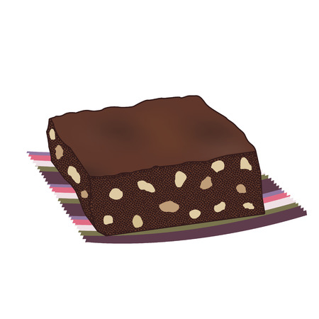 brownie: Chocolate brownie cake with nuts on a striped serviette