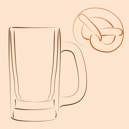 bretzel: Sketched beer mug with bretzel. Vector illustration.