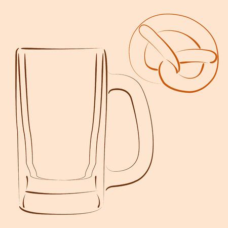 bretzel: Sketched beer mug with bretzel. Vector illustration.