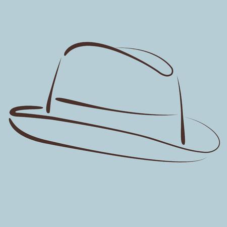 sketched: Sketched man s fedora hat silhouette. Vector. Illustration