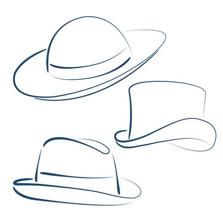 sketched: Illustration of sketched lady and gentleman hats. Illustration