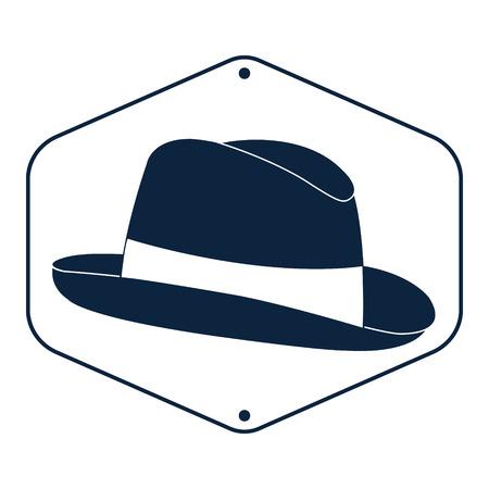 Vintage man s hoed label. Vector illustratie. Stock Illustratie