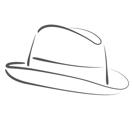 man s: Sketched man s fedora hat silhouette. Raster illustration. Stock Photo