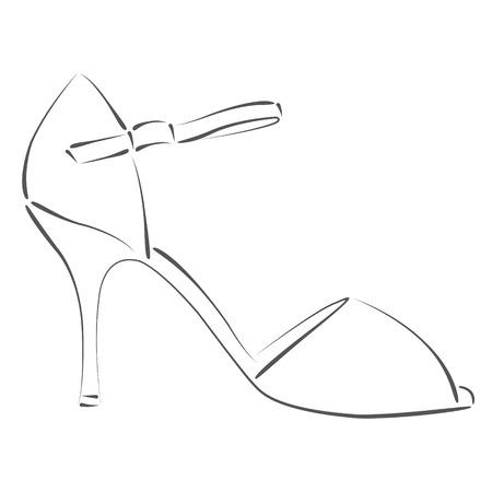 Elegante Skizzierte Frau S Schuh. Design-Vorlage Für Etikett, Banner ...