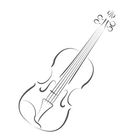 Geschetste viool. Ontwerp sjabloon voor label, ansichtkaart of logo. raster illustratie