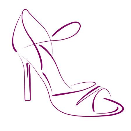 Argentijnse tango dans schoenen. Achtergrond kan gemakkelijk worden verwijderd. Ontwerp sjabloon voor label, banner, briefkaart, logo. Vector. Stock Illustratie