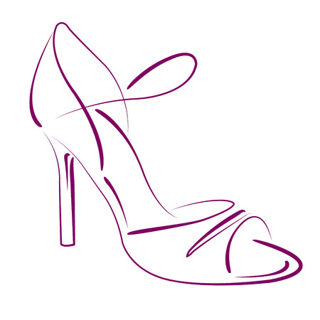 Argentine tango dance shoes. Background can be easily removed. Design template for label, banner, postcard, logo. Vector. Illustration