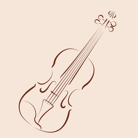 スケッチのヴァイオリン。ラベル、はがき、またはロゴのデザイン テンプレートです。ベクトルの図。  イラスト・ベクター素材