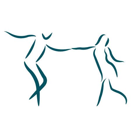 白い背景で隔離のカップルを踊る。男と女一緒にダンスします。ベクトルの図。