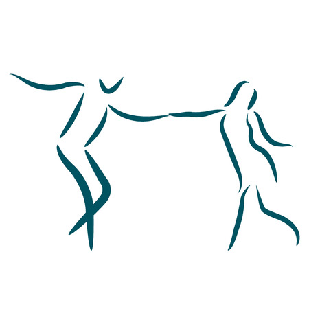 Dancing couple  isolated on white background. Man and woman dancing together. Vector illustration.