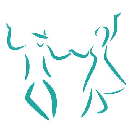 Dancing couple logo isoliert auf weißem Hintergrund. Swing-Tanz. Mann und Frau tanzen zusammen. Vektor-Illustration.