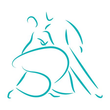Dancing couple logo isoliert auf weißem Hintergrund. Waltz. Mann und Frau tanzen zusammen. Vektor-Illustration.