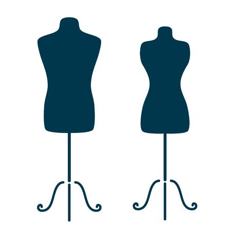 mannequin: Le mannequin de tailleur vintage pour le corps féminin et masculin isolé sur fond blanc. Illustration