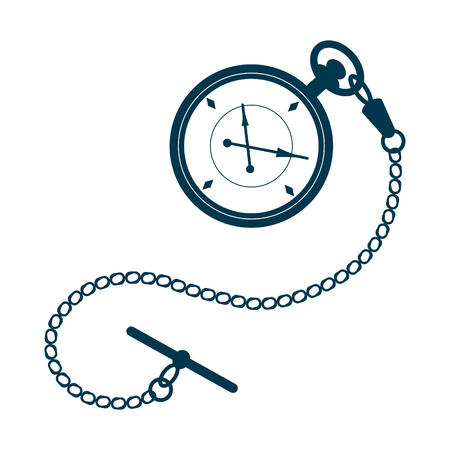 Pocket watch with chain isolated on white background. Design template for label, badge or logo. Vector.