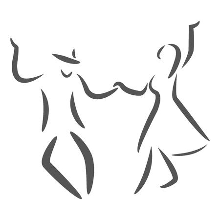 Pares del baile logotipo. Baile con ritmo. Hombre y mujer bailando juntos. Ilustración de la trama.