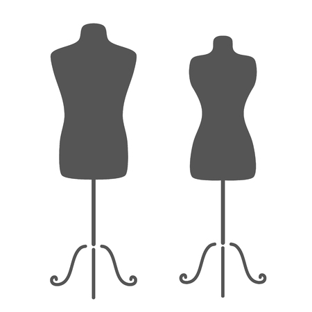 Vintage tailors mannequin for female and male body. Design template for label, badge or logo. Imagens