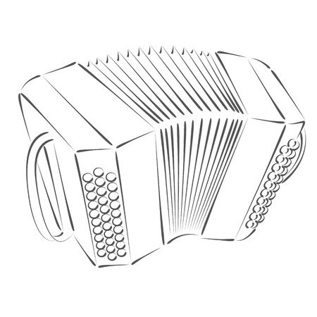 milonga: Sketched bandoneon concertina. Design template for label, banner, postcard or logo. Raster illustration.