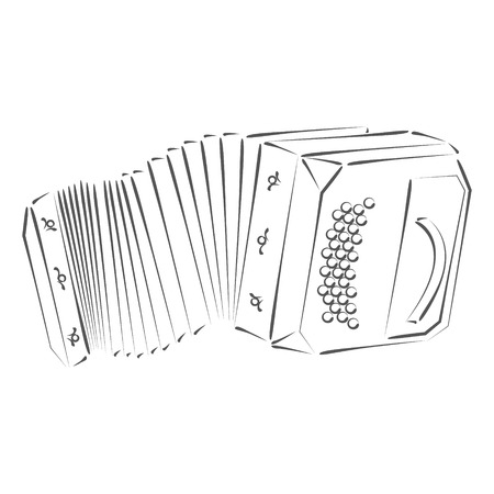 bandoneon: Sketched bandoneon concertina. Design template for label, banner, postcard or logo. Raster illustration.
