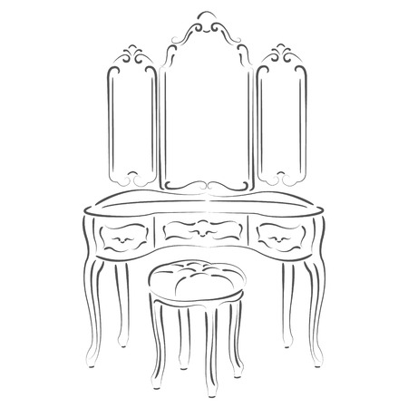 padded stool: Sketched retro dressing console, pier-glass, dressing table. Design template for label, banner or postcard. Raster illustration. Stock Photo